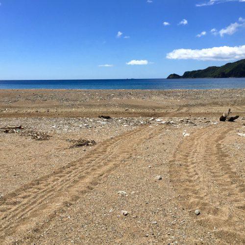 誰もいない浜辺で足跡に心打たれる
